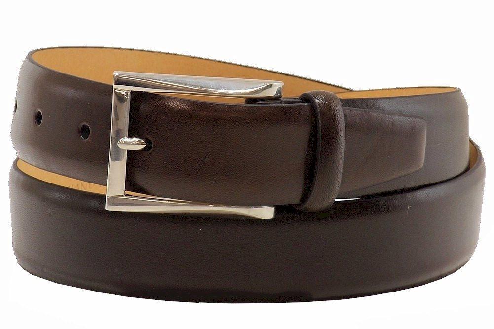 Image of Trafalgar Men's Broderick Genuine Cortina Leather Dress Belt - Dark Brown - 32