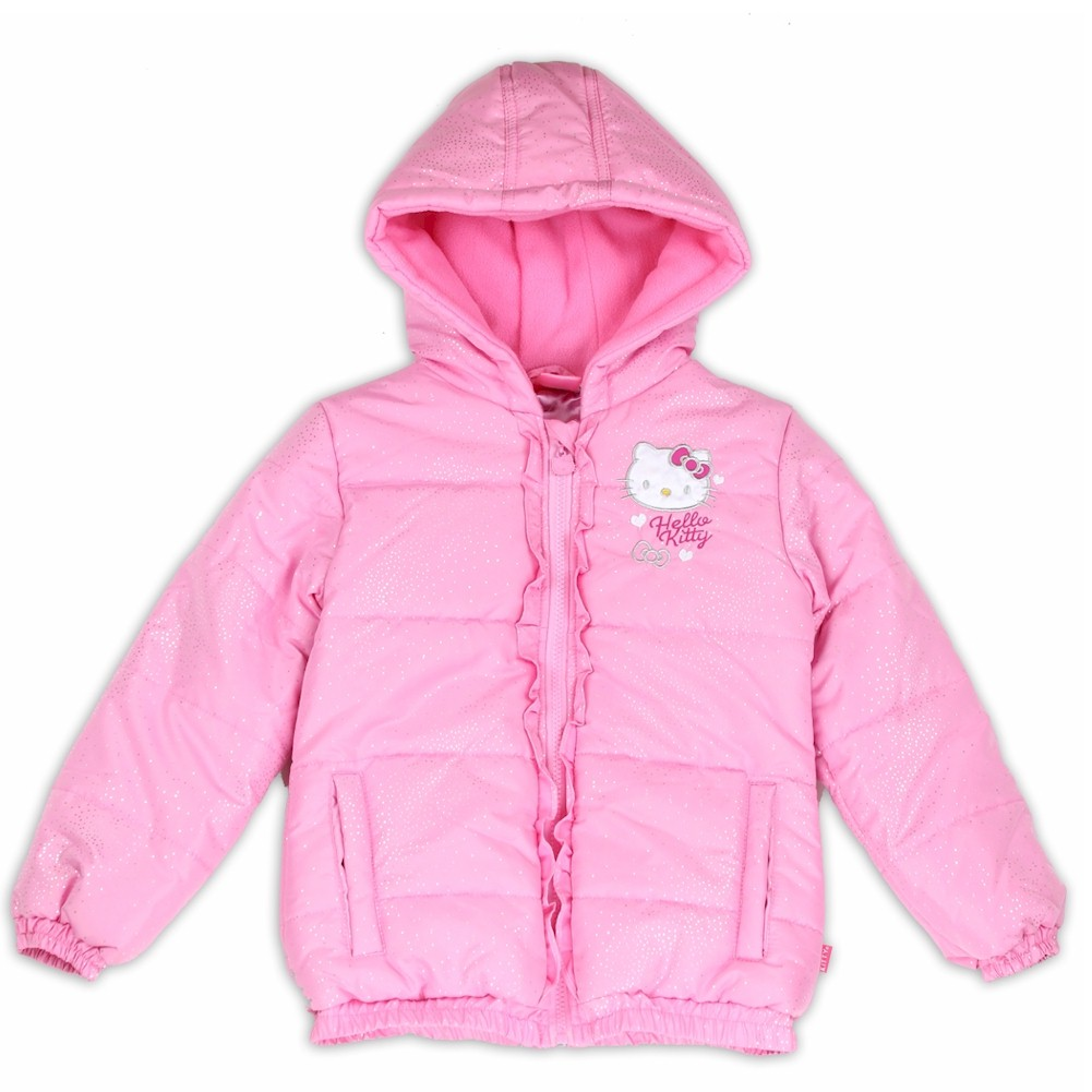 Image of Hello Kitty Toddler Girl's Shimmer Puffer Hooded Winter Jacket - Pink - 2T