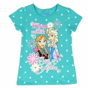 Disney Frozen Girl's Strong Bond Polka Dot Glitter Short Sleeve T-Shirt  UPC: