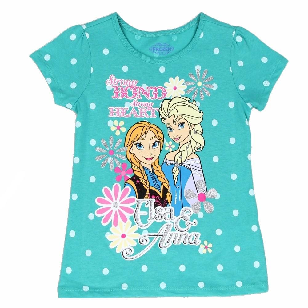 Disney Frozen Girl\'s Strong Bond Polka Dot Glitter Short Sleeve T-Shirt