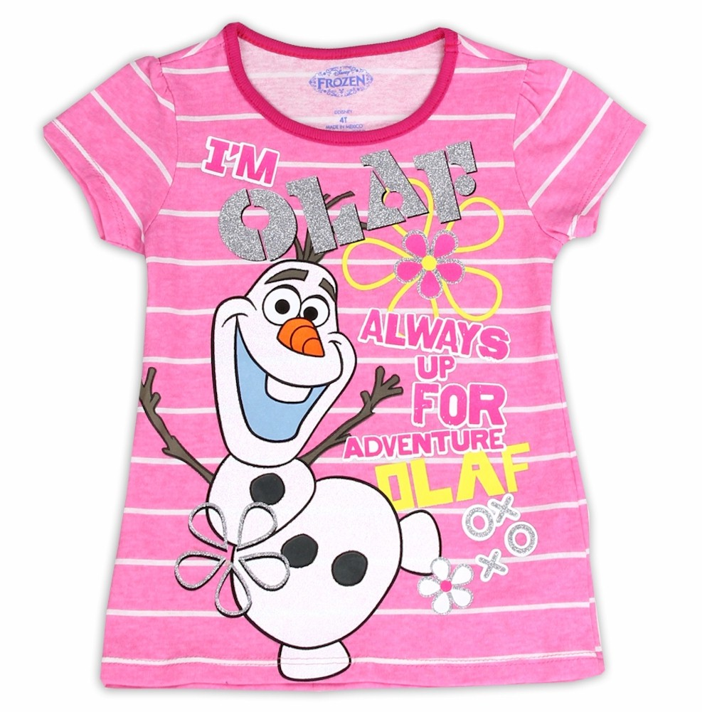 Image of Disney Frozen Toddler Girl's I'm Olaf Striped Glitter Short Sleeve T Shirt - Pink - 2T