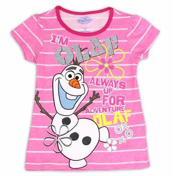 Disney Frozen Girl's I'm Olaf Striped Glitter Short Sleeve T-Shirt  UPC: