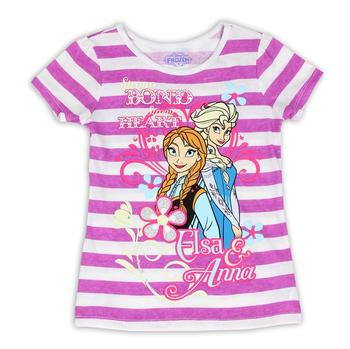 Disney Frozen Girl's Strong Bond Striped Glitter Short Sleeve T-Shirt  UPC: