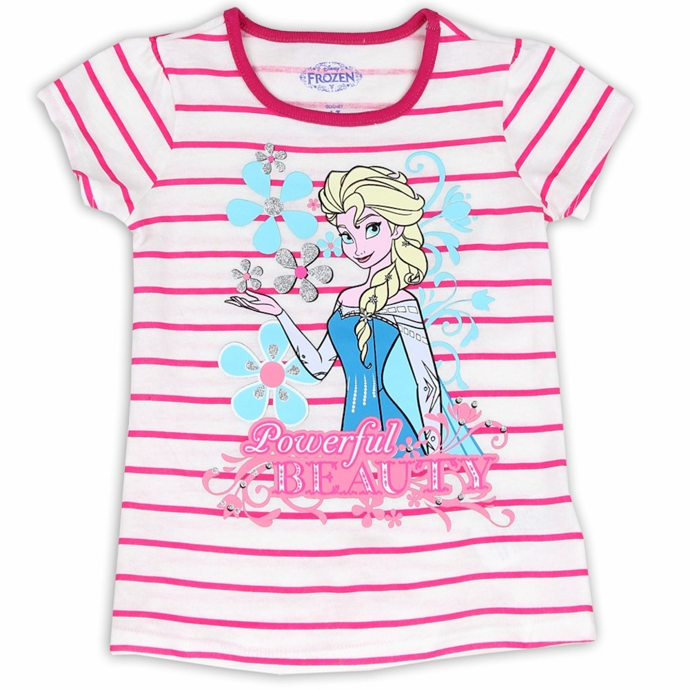 Image of Disney Frozen Toddler Girl's Powerful Beauty Striped Short Sleeve T Shirt - Pink - 2T