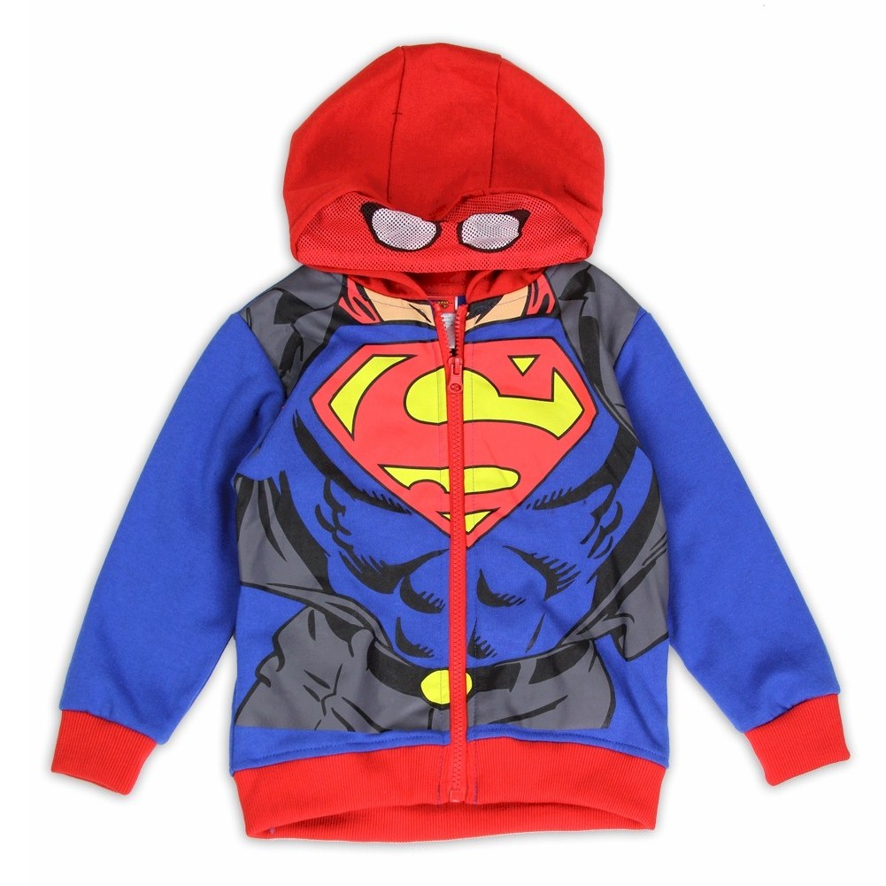 Image of Superman Toddler Boy's Superman Suit Masked Full Zip Hoodie - Blue - 2T