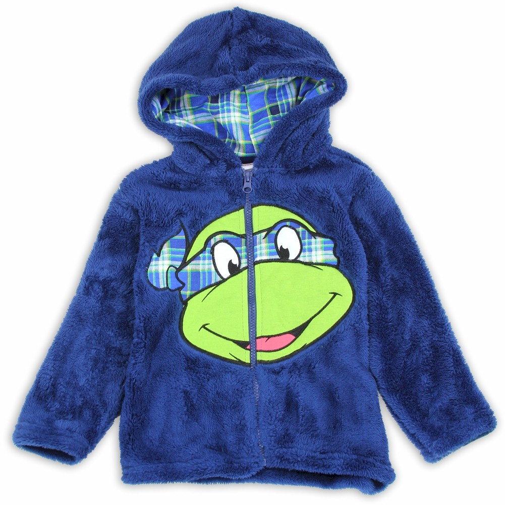 Image of Nickelodeon Toddler Boys Teenage Mutant Ninja Turtles Leonardo Velboa Hoodie - Blue - 2T