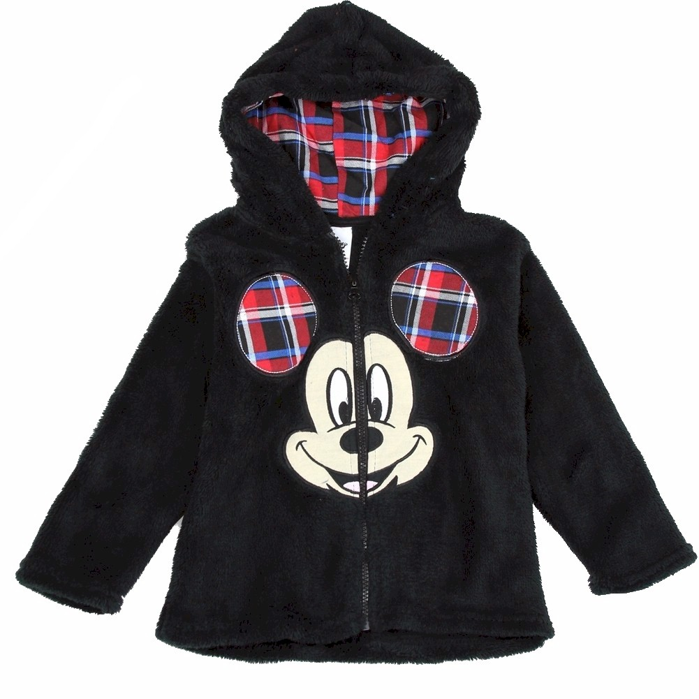 Image of Disney Toddler Boy's Mickey Mouse Velboa Hoodie - Black - 2T