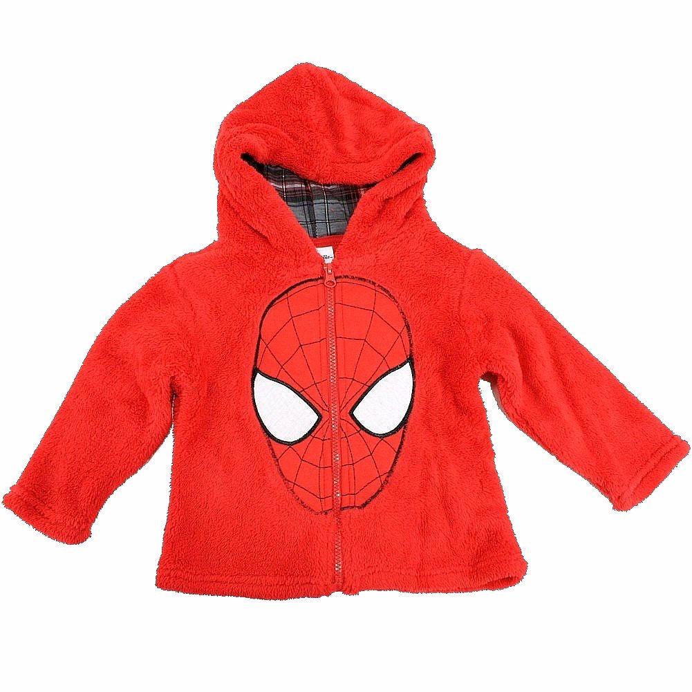 Image of Marvel Spiderman Toddler Boy's Spiderman Mask Full Zip Velboa Hoodie - Red - 2T