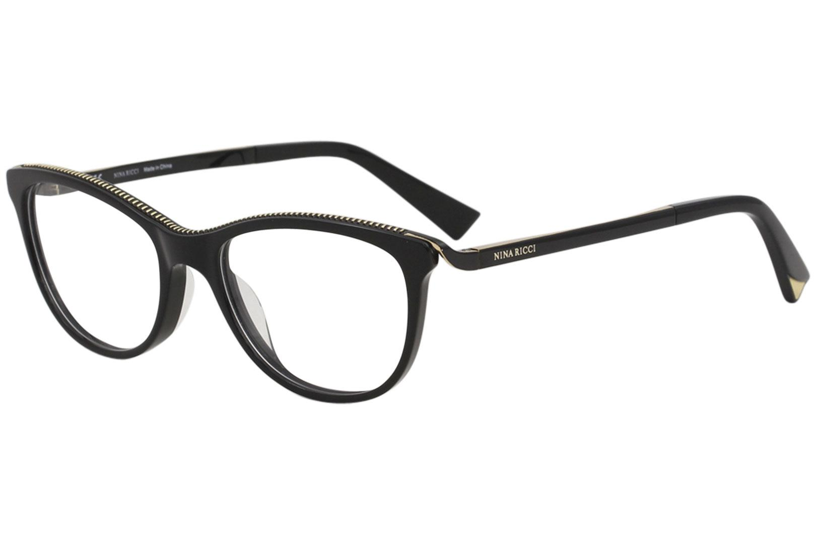 Image of Nina Ricci Eyeglasses VNR028 VNR/028 0700 Black Full Rim Optical Frame 51mm - Black   0700 - Lens 51 Bridge 18 Temple 135mm