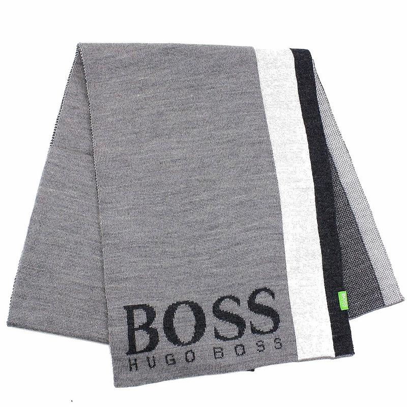 Image of Hugo Boss Men's Contrasting Stripe Scarf - Grey - One Size