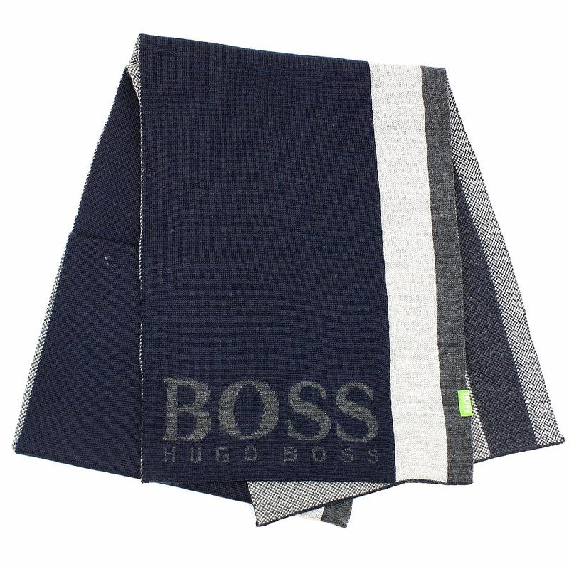 Image of Hugo Boss Men's Contrasting Stripe Scarf - Blue - One Size