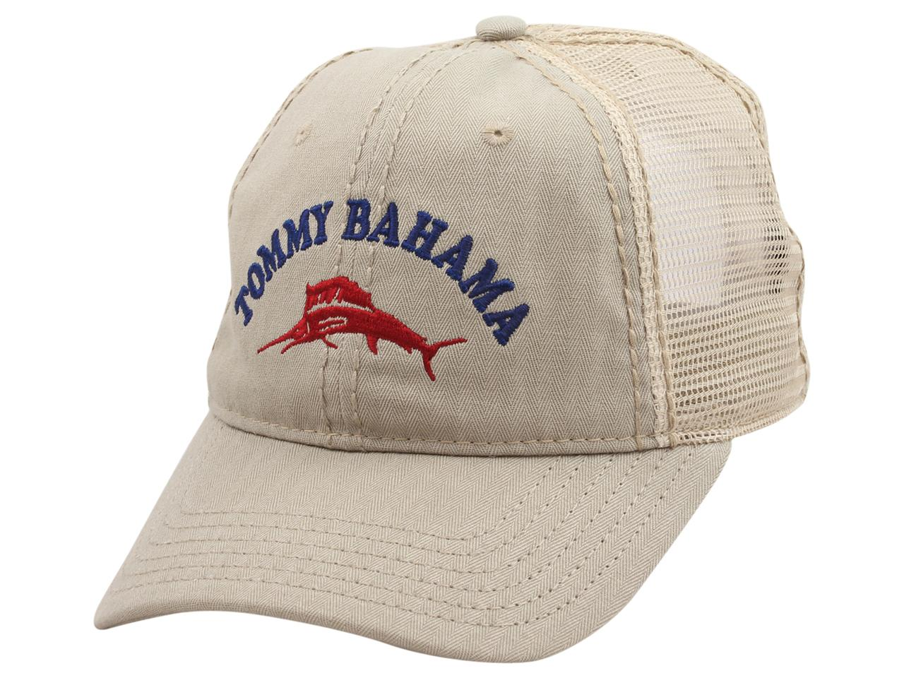 Image of Tommy Bahama Men's Strapback Trucker Cap Baseball Hat - Khaki - One Size Fits Most