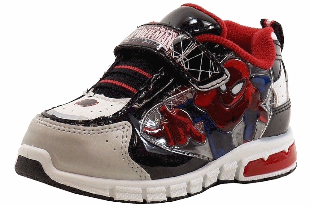 Image of Ultimate Spiderman Boy's Fashion Light Up Black/Red Sneakers Shoes - Black - 10   Toddler