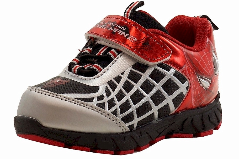Image of The Amazing Spiderman 2 Boy's Fashion Light Up Black/Red Sneakers Shoes - Black - 10   Toddler