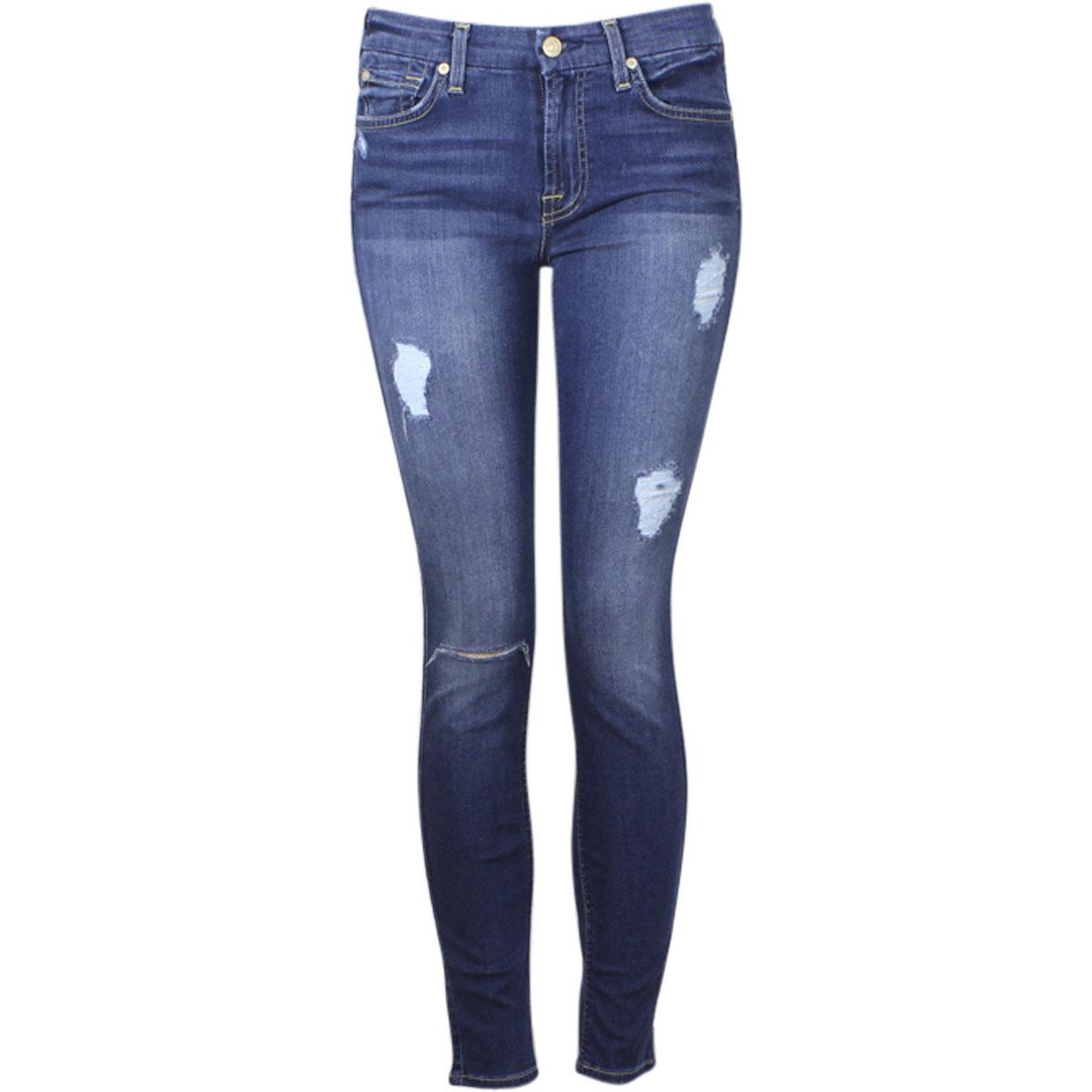 Image of 7 For All Mankind Women's The Ankle Skinny With Destroy (B)Air Denim Jeans - Blue - 27 (3/4)