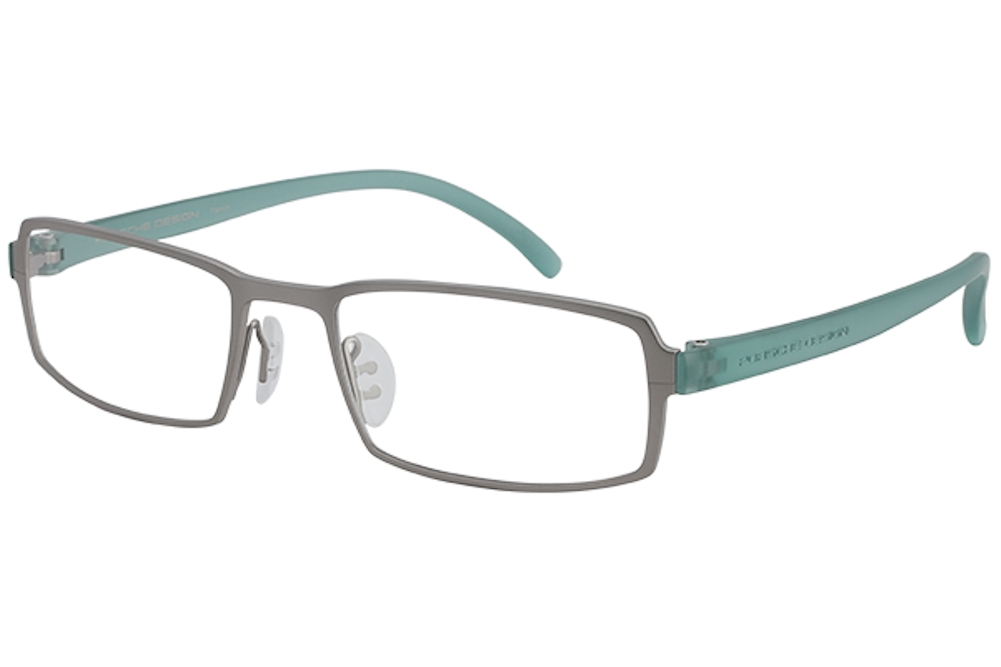 Image of Porsche Design Men's Eyeglasses P'8145 P8145 Full Rim Optical Frame - Titanium/Teal   F - Lens 53 Bridge 19 Temple 140mm