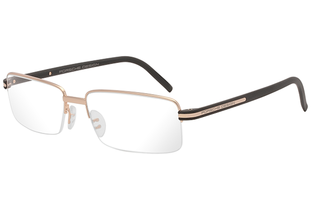 Image of Porsche Design Men's Eyeglasses P'8216 P8216 Half Rim Optical Frame - Gold/Blue   E - Lens 56 Bridge 17 Temple 145mm