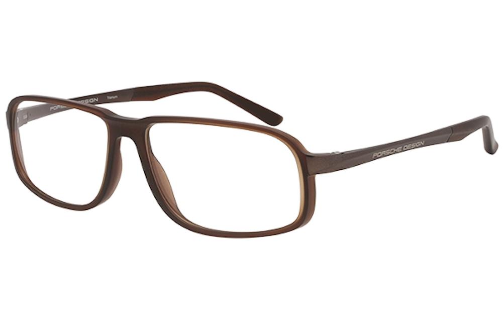 Image of Porsche Design Men's Eyeglasses P'8229 P8229 Full Rim Optical Frame - Brown - Lens 57 Bridge 14 Temple 140mm