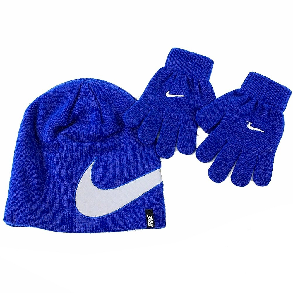 Image of Nike 2 Piece Youth Knit Winter Beanie Hat & Glove Set - Blue - Youth 4/7