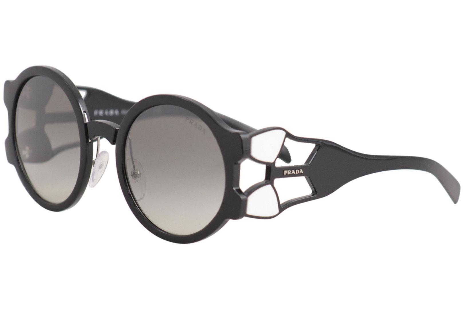 7e994e3e2d83 Prada Women s SPR13U SPR 13 U 1AB-5O0 Black Fashion Round Sunglasses ...
