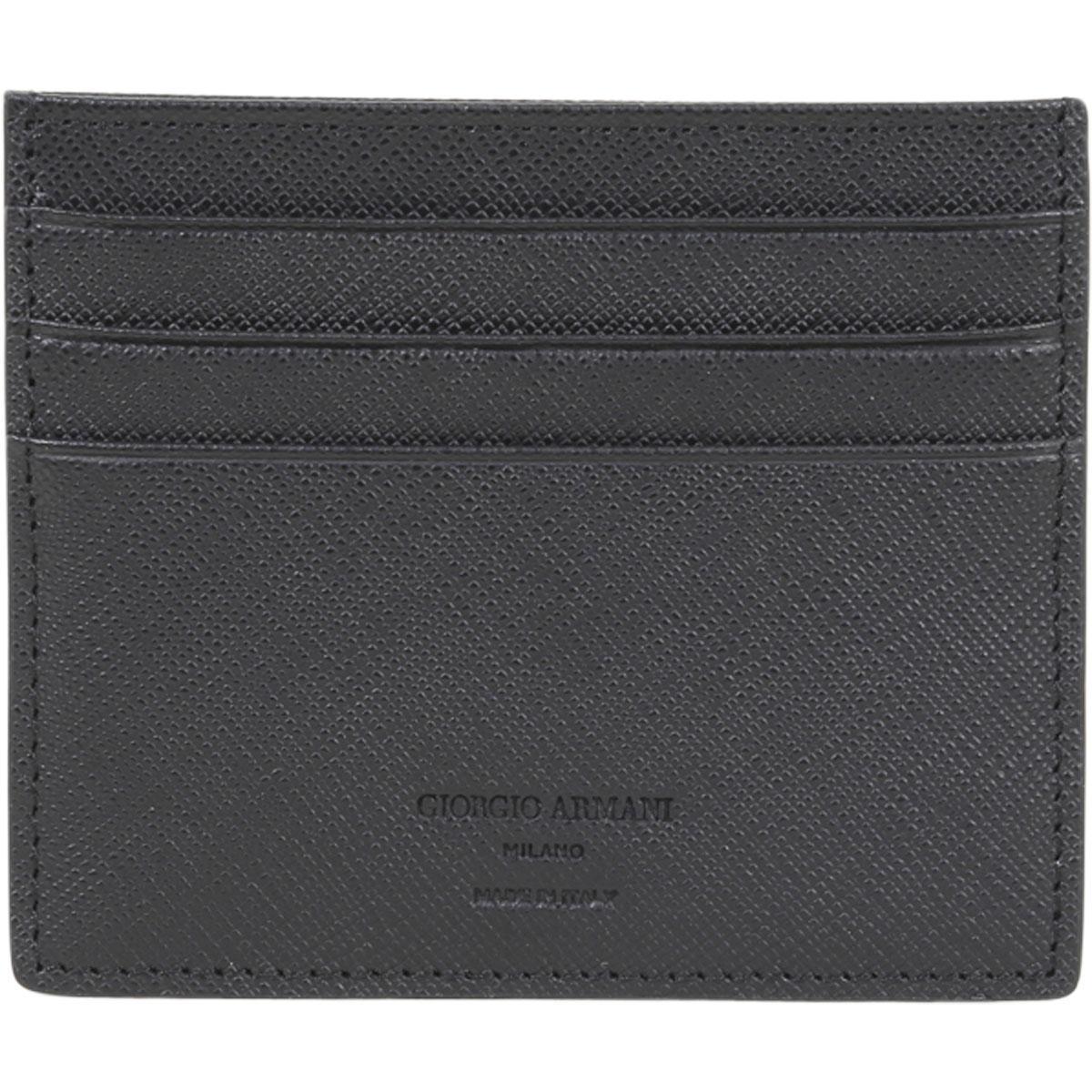 giorgio armani mens textured genuine leather card holder wallet - Leather Card Holder Wallet