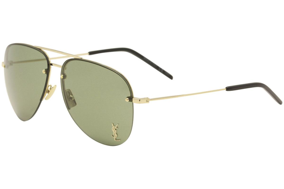 Image of Saint Laurent Men's Classic 11M Pilot Sunglasses - Gold Black/Green Nylon Lens   003  - Lens 59 Bridge 13 Temple 140mm
