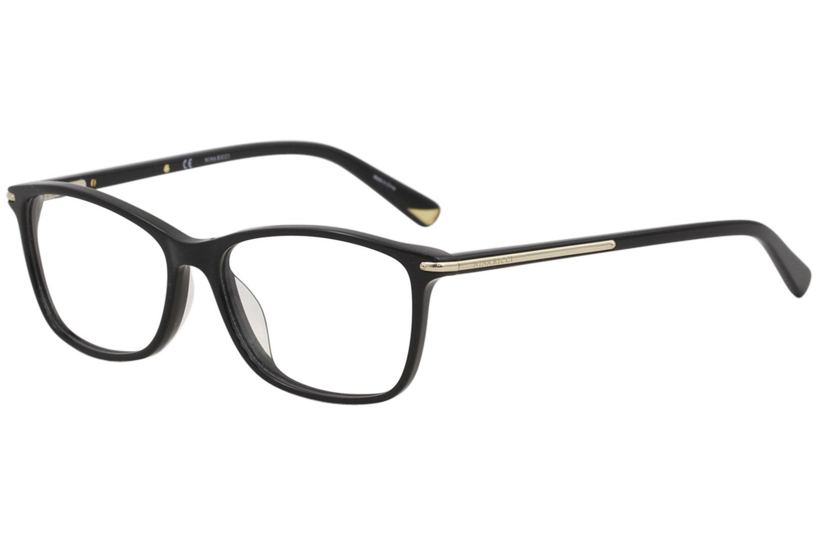 Image of Nina Ricci Eyeglasses VNR038 VNR/038 0700 Black Full Rim Optical Frame 53mm - Shiny Black   0700 - Lens 53 Bridge 15 Temple 140mm