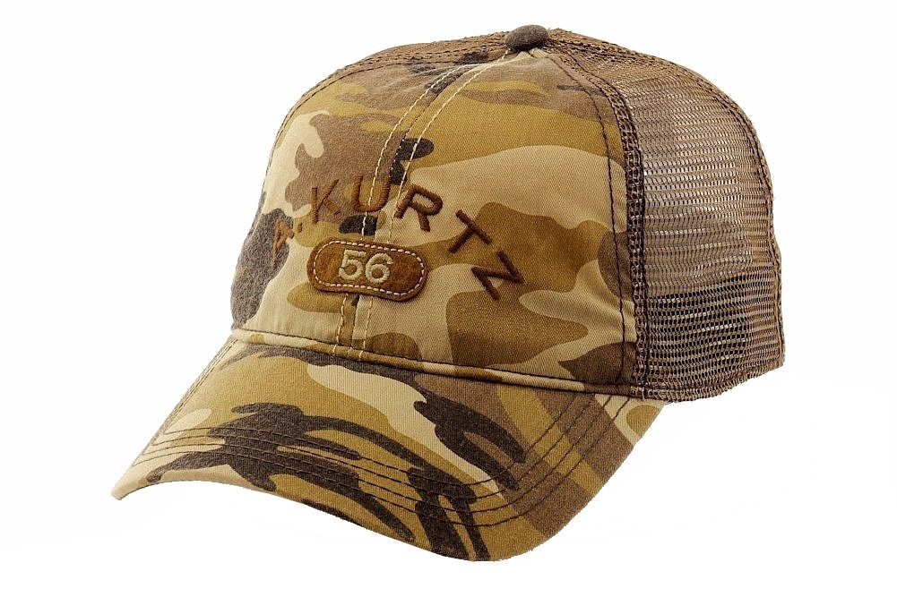 Image of Kurtz Men's Arc Trucker Camo Cap Baseball Hat (One Size Fits Most) - Brown - One Size