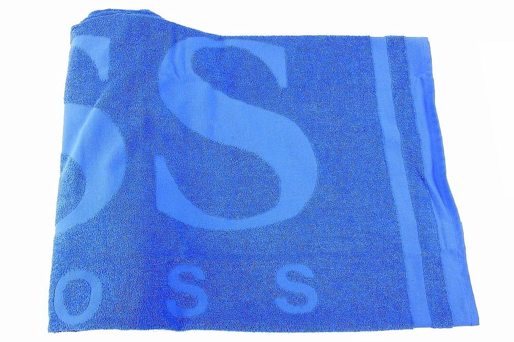 Image of Hugo Boss Embossed Terrycloth Cotton Beach Towel - Blue - 33.8 H x 66.1 L Inch