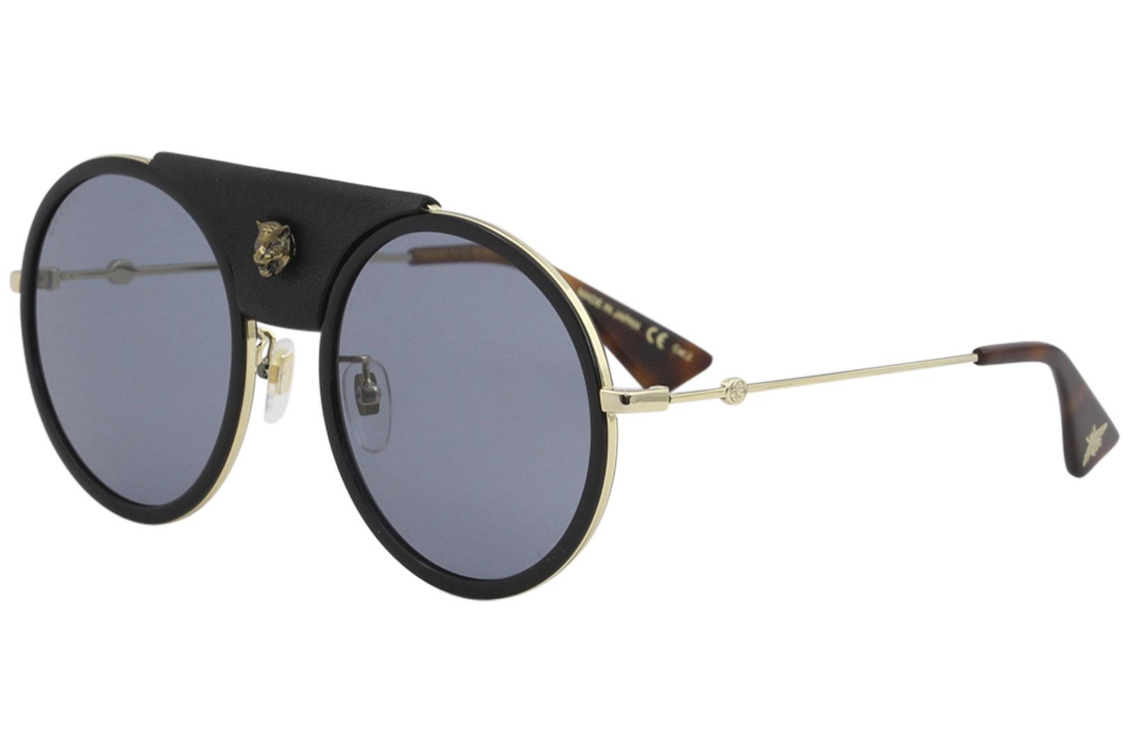 4436f41604 Details about Gucci Women s GG0061S GG 0061 S 016 Gold Black Round Leather  Sunglasses 56mm