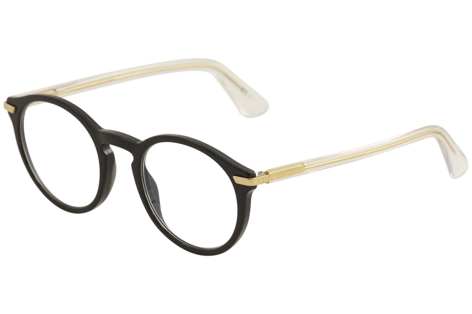Image of Christian Dior Eyeglasses Women's CD3726 CD/3726 Full Rim Optical Frame - Black/Gold/Crystal   7CS - Lens 49 Bridge 22 Temple 145mm
