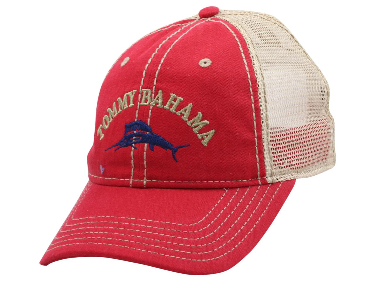 Image of Tommy Bahama Men's Strapback Trucker Cap Baseball Hat - Red - One Size Fits Most