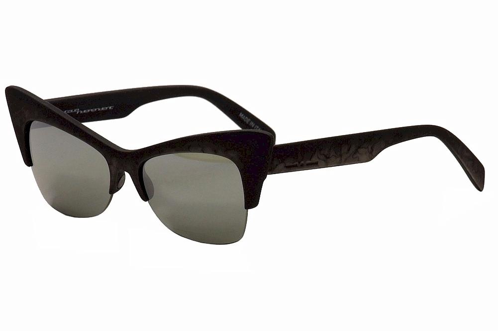 Image of Italia Independent Women's I Plastik 0908 Fashion Cat Eye Sunglasses - Nero Grigio/Mir Grey   071 - Lens 59 Bridge 16 Temple 140mm