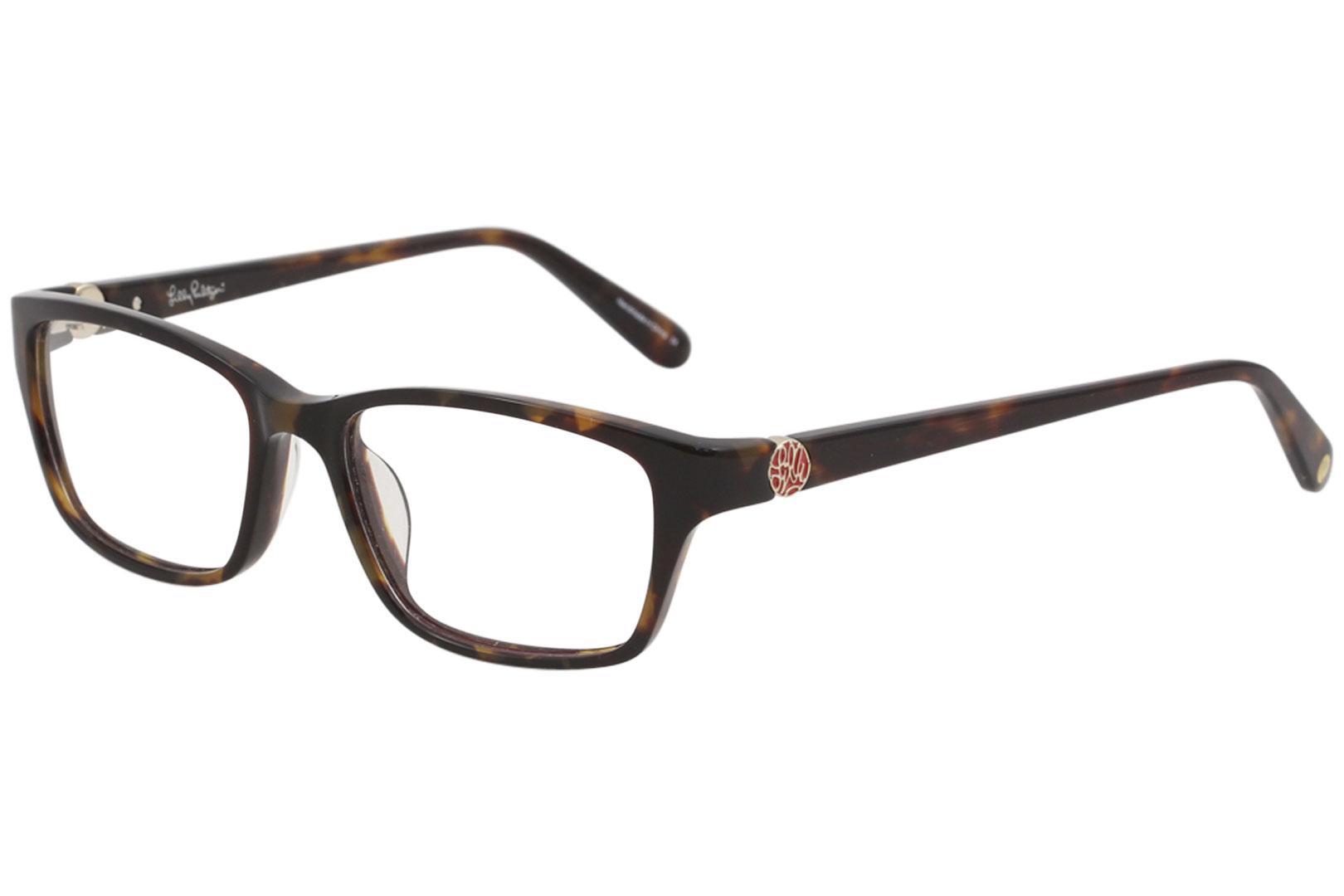 Image of Lilly Pulitzer Women's Eyeglasses Amberly Full Rim Optical Frame - Dark Tortoise   DT - Lens 51 Bridge 16 Temple 135mm