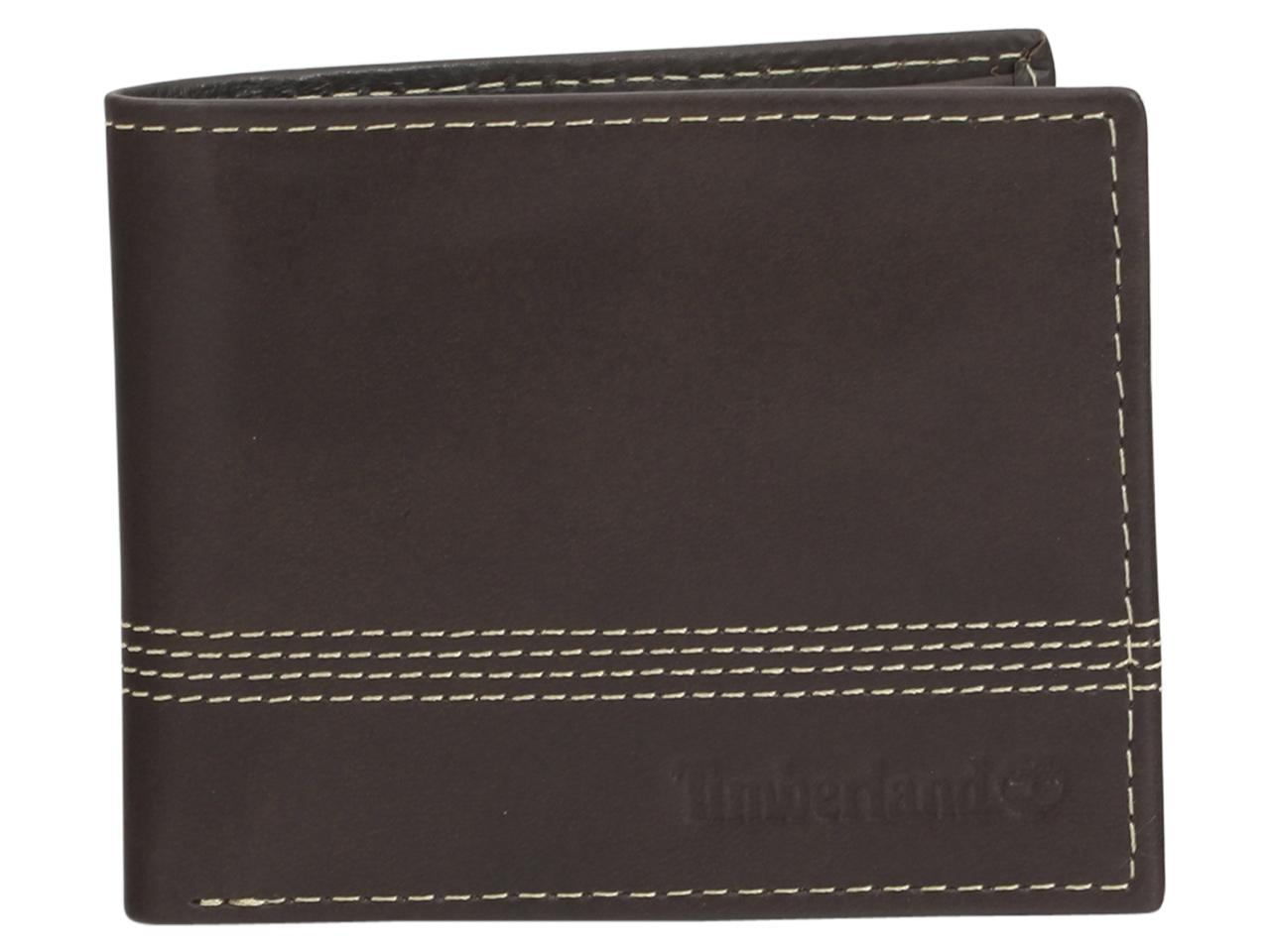 Timberland Men's Cloudy Quad Genuine Leather Bifold Wallet