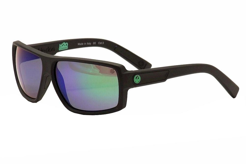 Image of Dragon Men s Double Dos Square Sunglasses Matte H2O Green/Green Ion P2