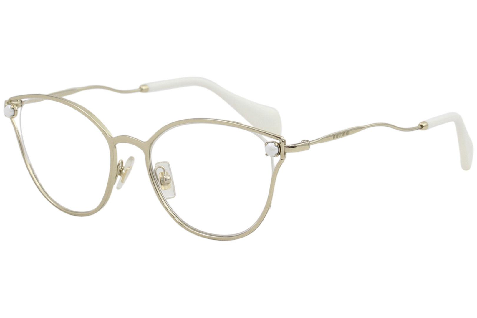Image of Miu Miu Women's Eyeglasses VMU53Q VMU/53Q ZVN1O1 Pale Gold Optical Frame 52mm - Pale Gold   ZVN1O1 - Lens 52 Bridge 18 B 43.2 ED 56.5 Temple 145mm