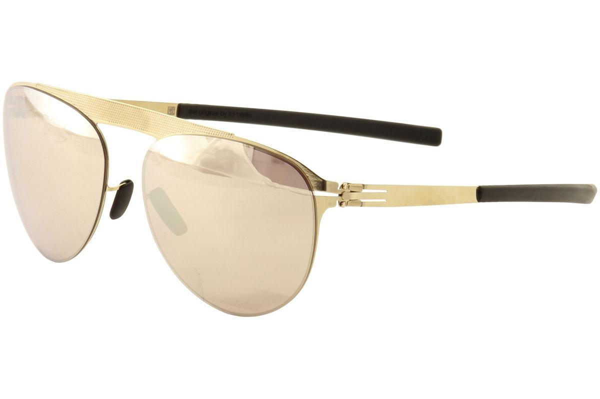 Image of Ic! Berlin Meike B. Pilot Fashion Sunglasses - Gold Black/Gold Pink Polarized Mirror  - Lens 48 Bridge 19 Temple 145mm