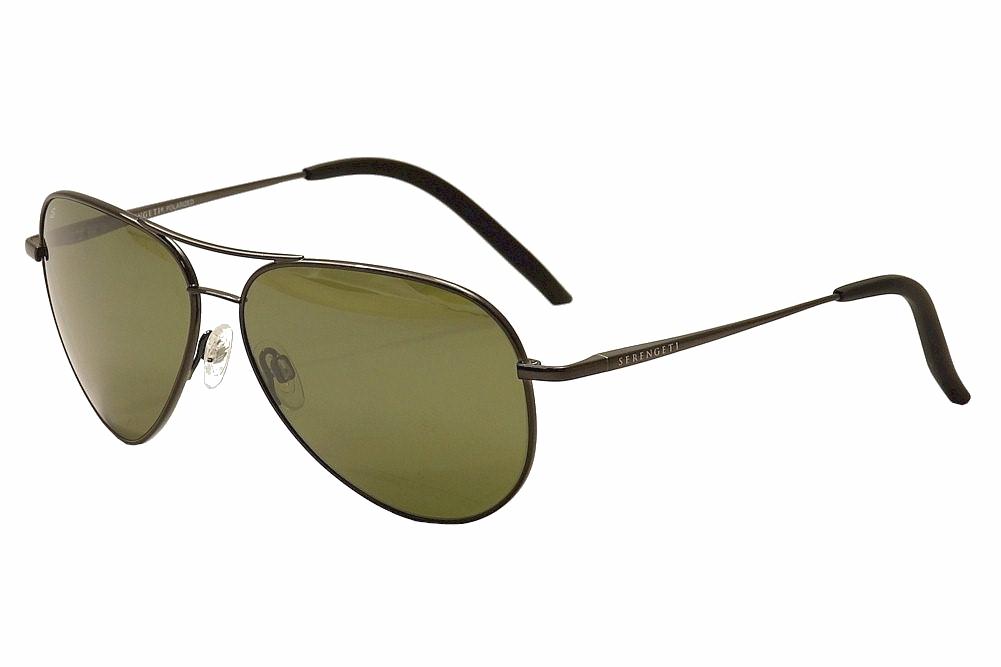 Image of Serengeti Carrara Fashion Medium Fashion Pilot Sunglasses - Gunmetal/Pol. Grey Green  8294 - Lens 52 Bridge 13 Temple 135mm