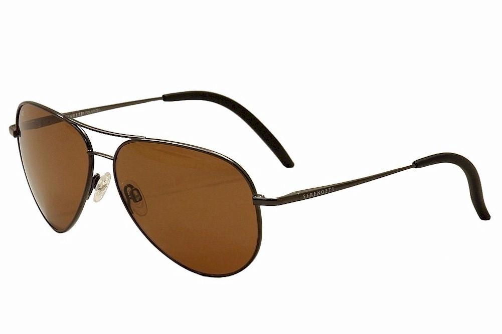 Image of Serengeti Carrara Fashion Medium Fashion Pilot Sunglasses - Shiny Gunmetal/Pol Amber  8297 - Lens 52 Bridge 13 Temple 135mm