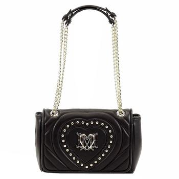 Love Moschino Women's Studded Heart Flap Over Satchel Handbag  UPC: