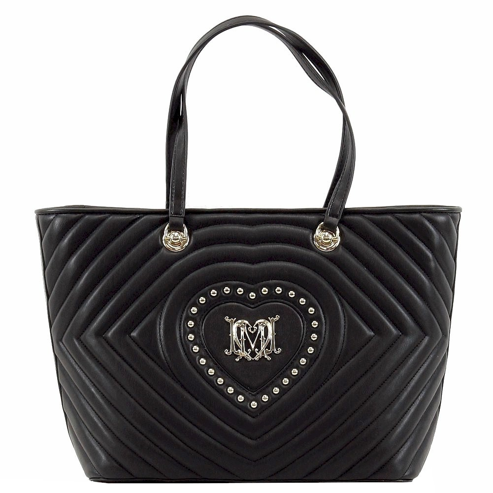Love Moschino Women s Studded Heart Leather Tote Handbag