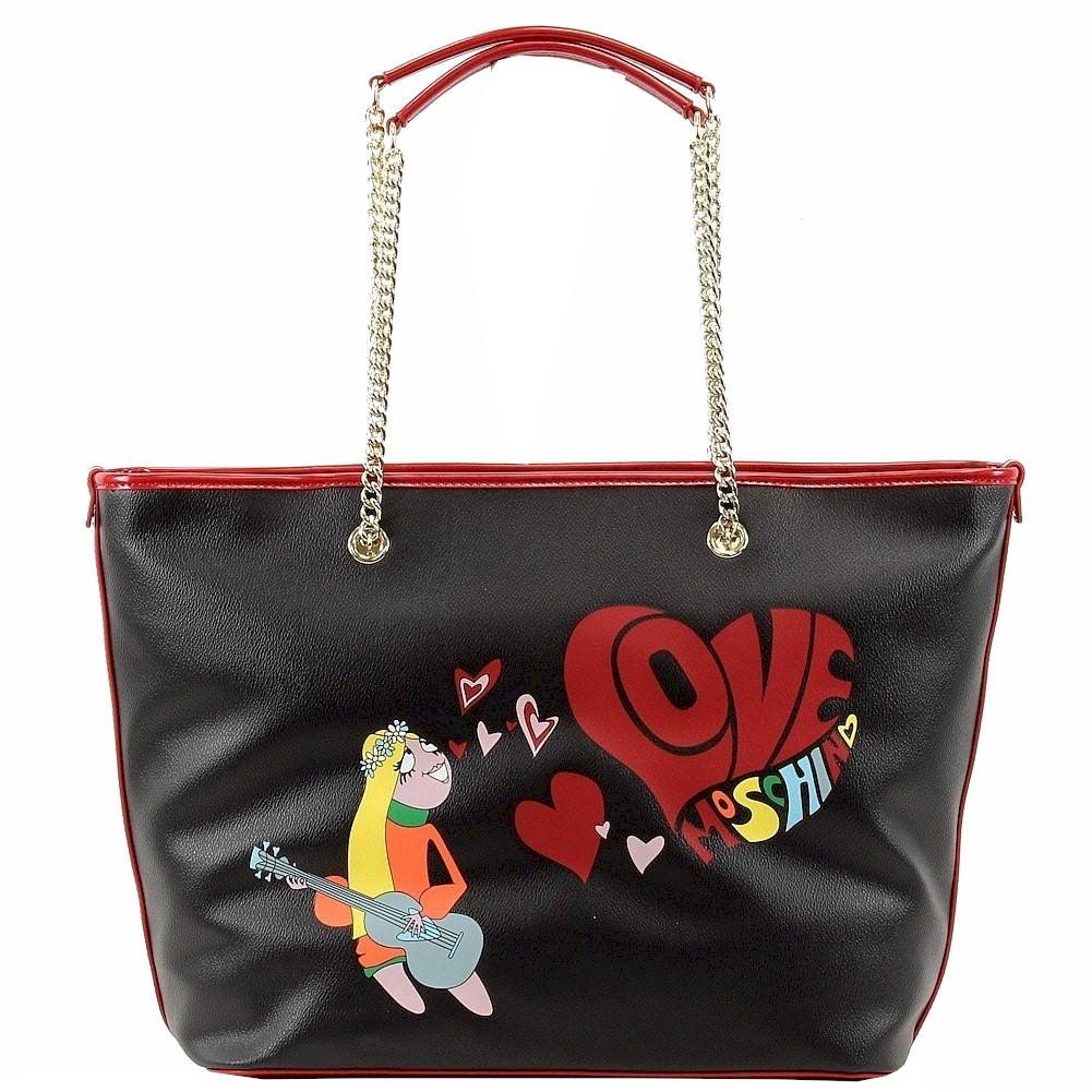 Love Moschino Women s Hippie Girl Love Stamped Tote Handbag
