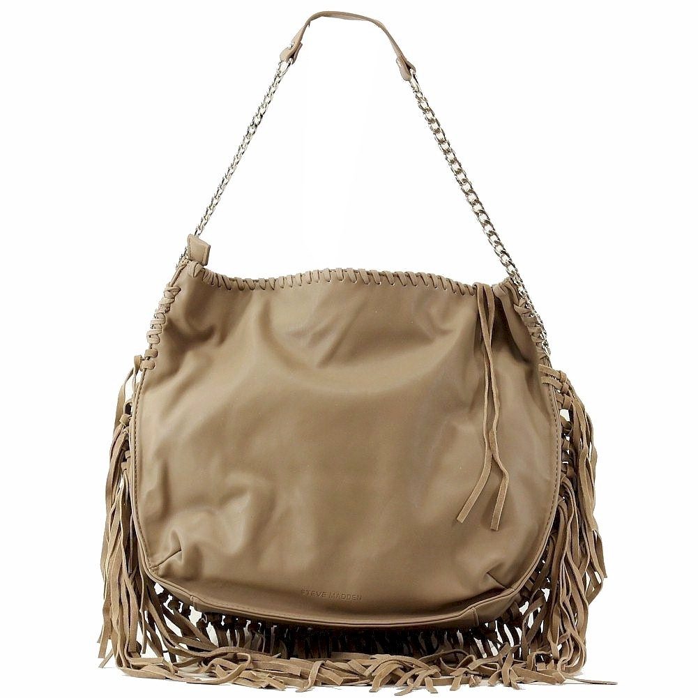 Image of Steve Madden Women's BMadly Fringe Tote Handbag - Brown - 14H x 15L x 3D In