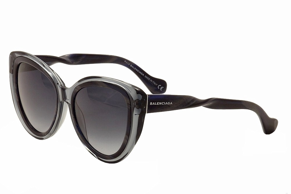 Image of Balenciaga Women's BA26 BA/26 Fashion Cat Eye Sunglasses - Dark Horn Gray/Gray Grad   92W - Lens 54 Bridge 18 Temple 140mm