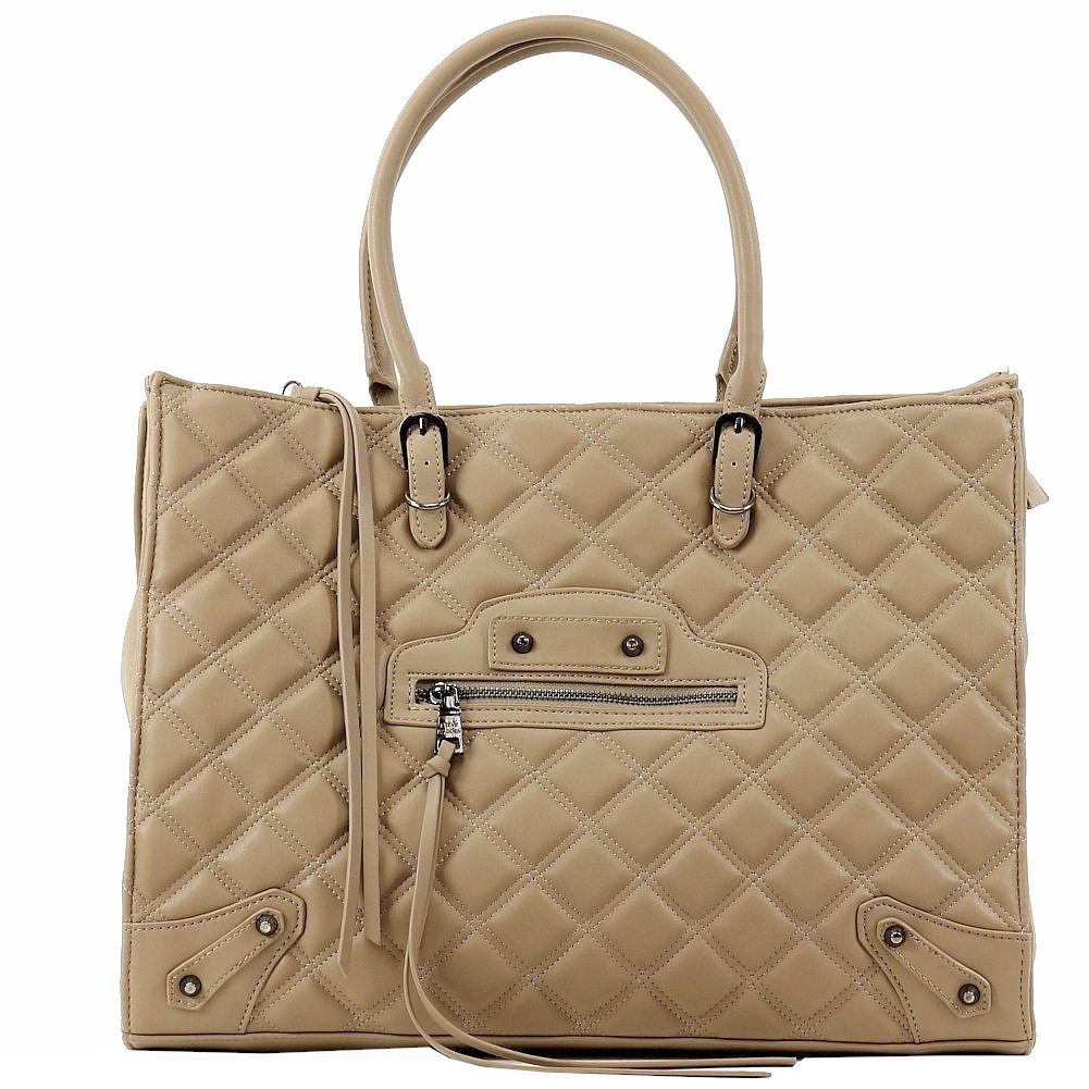 Image of Steve Madden Women's BZinnia Carryall Quilted Tote Handbag - Brown - 12.5H x 16.5W x 5.5D