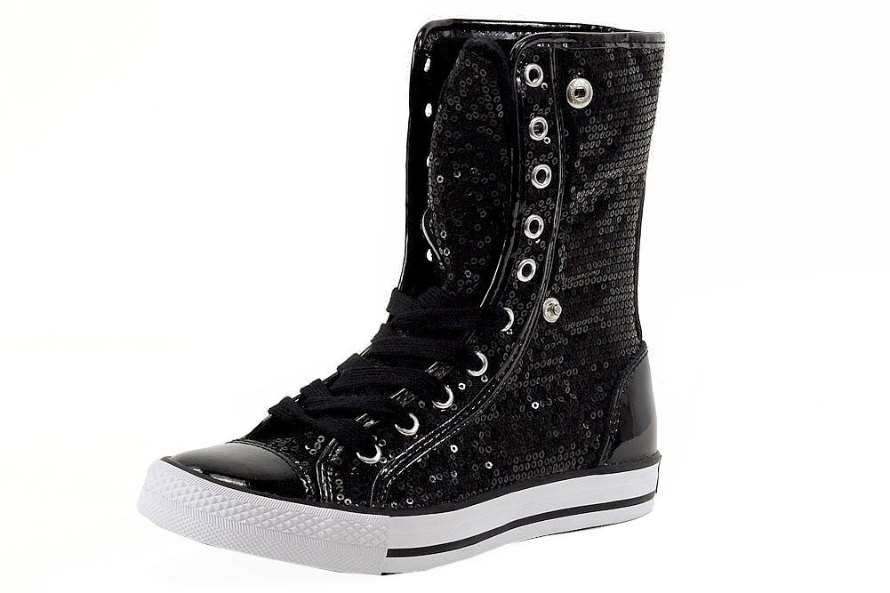 Image of Gotta Flurt Women's Destiny Sequins Fashion High Top Sneakers Shoes - Black - 7