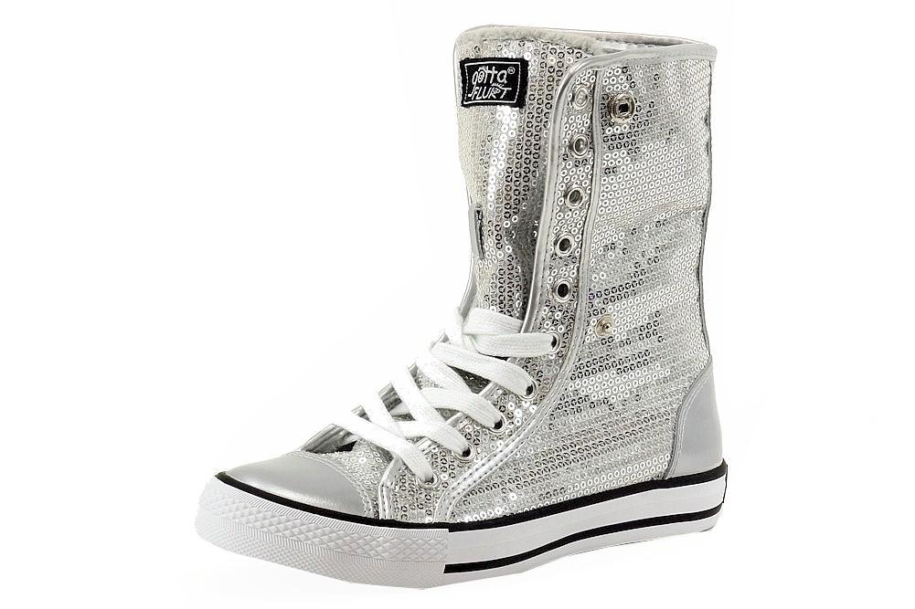 Image of Gotta Flurt Women's Destiny Sequins Fashion High Top Sneakers Shoes - Silver - 6.5