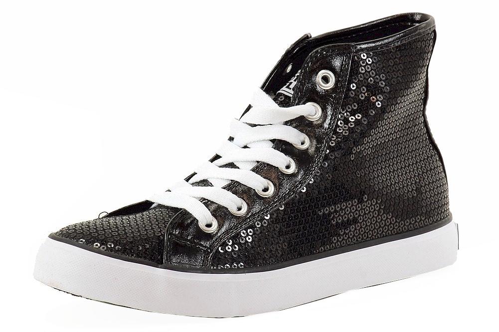 Image of Gotta Flurt Women's Disco II Hi Sequins Fashion Sneakers Shoes - Black - 8