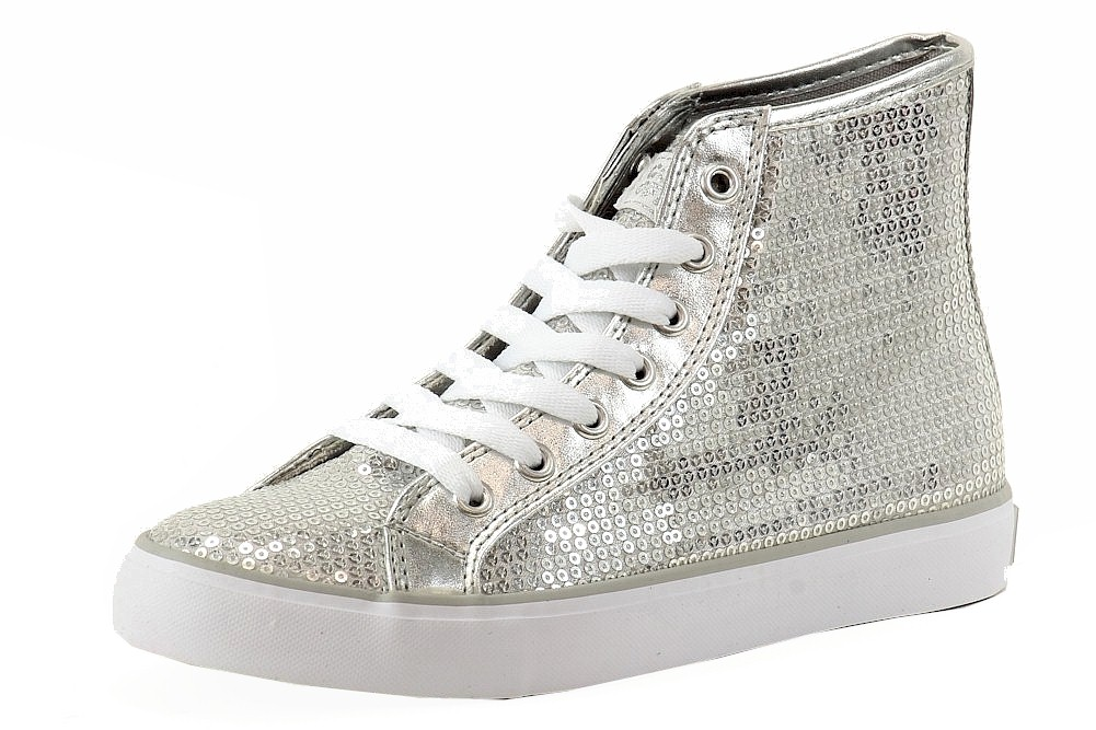 Image of Gotta Flurt Women's Disco II Hi Sequins Fashion Sneakers Shoes - Silver - 6.5